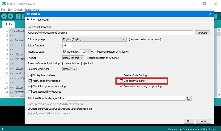 Arduino IDE external editor setting