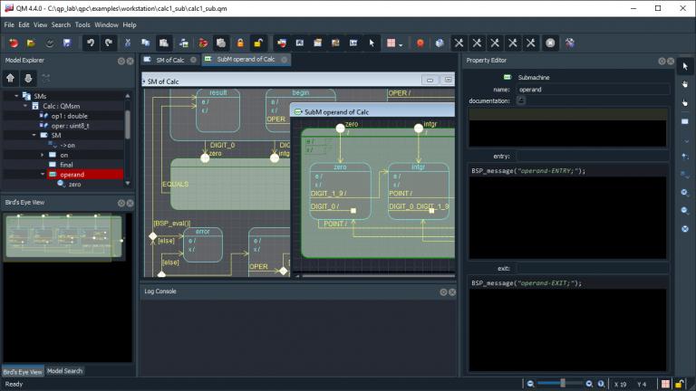 QM screen shot with submachine diagram dark theme
