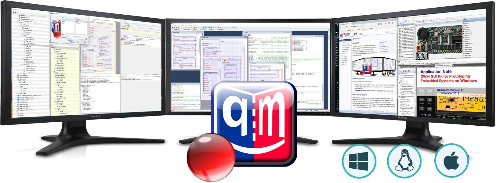 QM modeling tool logo and three monitors
