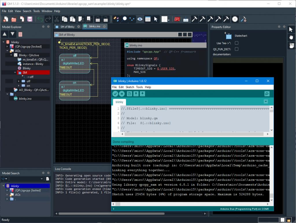 QP/QM for Arduino workflow
