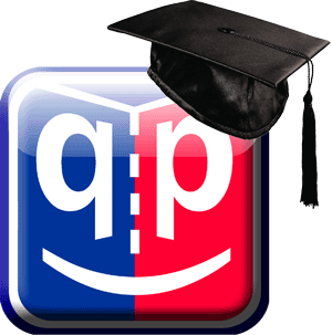 QP/QM Training with QP logo with graduation cap